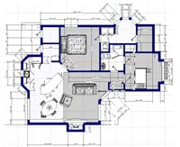 Basic house plan with furnishings