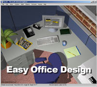 Design with desks and cubicles