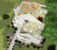3D house plan with roof removed