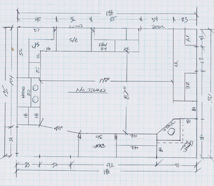 L for Area of a floor plan
